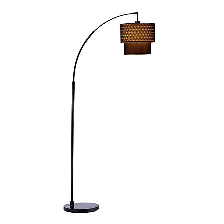 "Adesso® Gala Arc Floor Lamp, 71""H, Black Shade/Black Base"