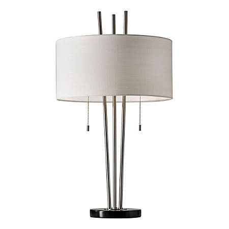 "Adesso® Anderson Table Lamp, 28""H, White Shade/Brushed Steel Base"
