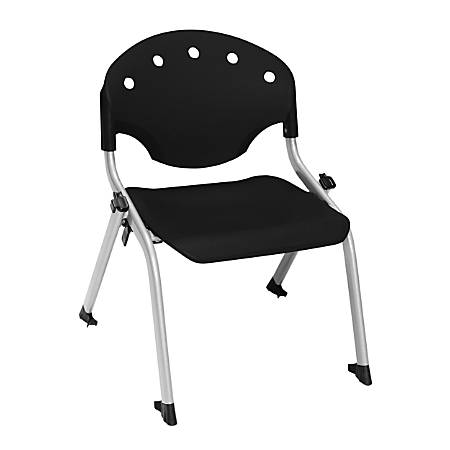 """OFM Rico Student Stack Chairs, 12"""" Seat Height, Black/Silver, Set Of 6"""