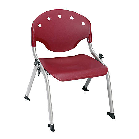"""OFM Rico Student Stack Chairs, 12"""" Seat Height, Burgundy/Silver, Set Of 6"""