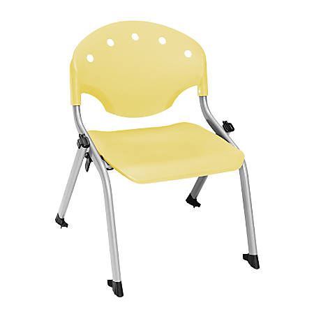 """OFM Rico Student Stack Chairs, 12"""" Seat Height, Lemon Yellow/Silver, Set Of 6"""