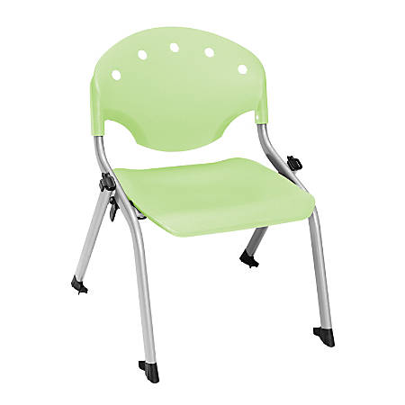 """OFM Rico Student Stack Chairs, 12"""" Seat Height, Lime Green/Silver, Set Of 6"""