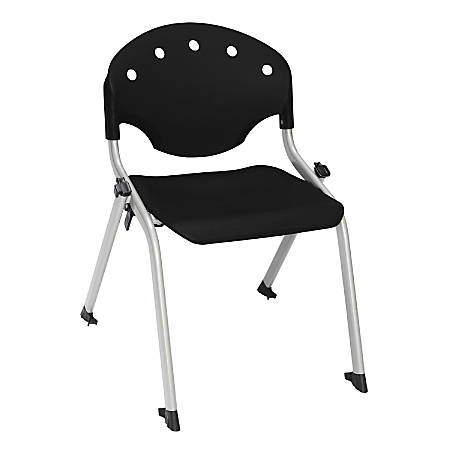 "OFM Rico Student Stack Chairs, 14"" Seat Height, Black/Silver, Set Of 6"