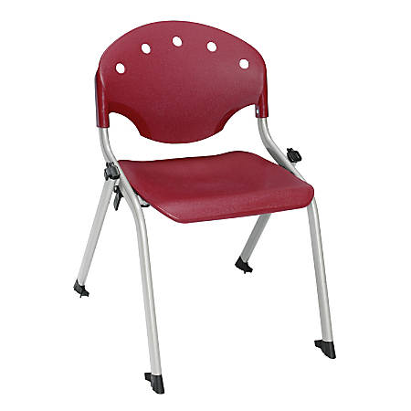 "OFM Rico Student Stack Chair, 25""H x 18""D x 18""W, Burgundy/Silver, Set Of 6"