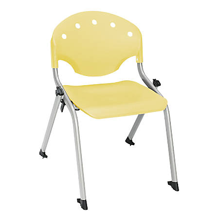 """OFM Rico Student Stack Chair, 25""""H x 18""""D x 18""""W, Lemon Yellow/Silver, Set Of 6"""