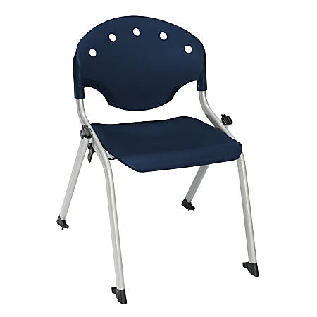 "OFM Rico Student Stack Chair, 25""H x 18""D x 18""W, Navy/Silver, Set Of 6"