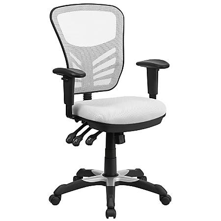 Flash Furniture Mesh Mid-Back Swivel Task Chair, White/Black