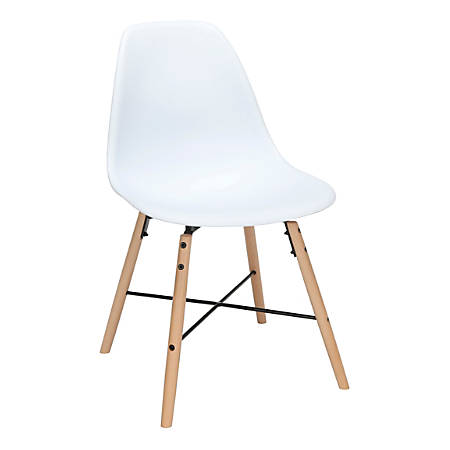 OFM 161 Collection Mid-Century Modern Molded Dining Chairs, White, Set Of 4 Chairs