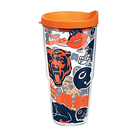 Tervis NFL All-Over Tumbler With Lid, 24 Oz, Chicago Bears