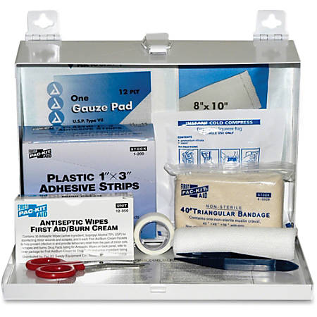 """Pac-Kit Safety Equipment 25-person First Aid Kit - 159 x Piece(s) For 25 x Individual(s) - 7"""" Height x 9.8"""" Width x 2.5"""" Depth - Steel Case - 1 Kit"""