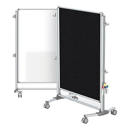 """Ghent Nexus Jr. Partition Double-Sided Mobile Magnetic Whiteboard And Bulletin Board, Porcelain/Fabric, 46-1/4"""" x 34-1/4"""", Black Fabric, Aluminum Frame"""
