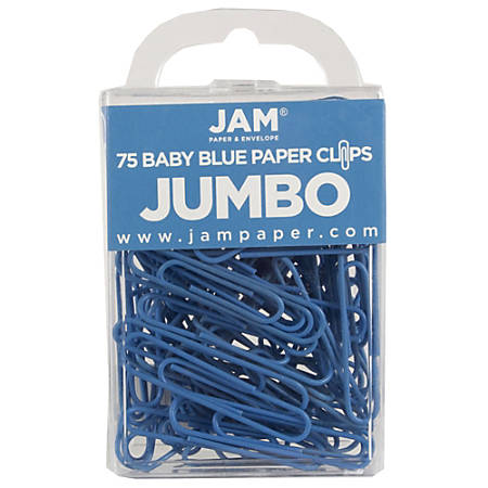 "JAM Paper® Paper Clips, Jumbo, 2"", 25-Sheet Capacity, Baby Blue, Pack Of 75"