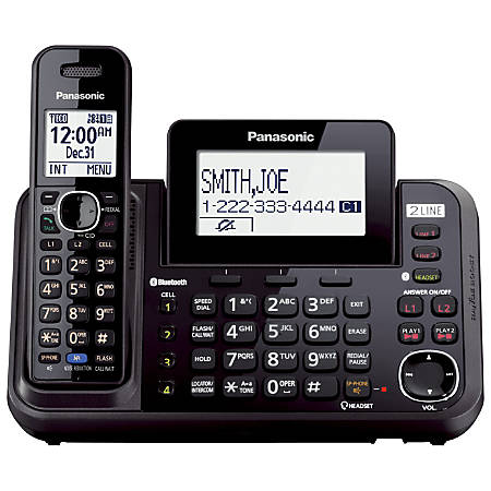 Panasonic® KX-TG9541B DECT 6.0 Digital 2-Line Expandable Cordless Phone With Digital Answering System