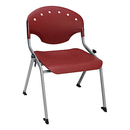 "OFM Rico Student Stack Chair, 30""H x 22""D x 24""W, Burgundy/Silver, Set Of 6"