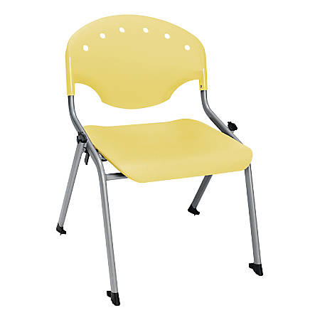 "OFM Rico Student Stack Chair, 30""H x 22""D x 24""W, Lemon Yellow/Silver, Set Of 6"