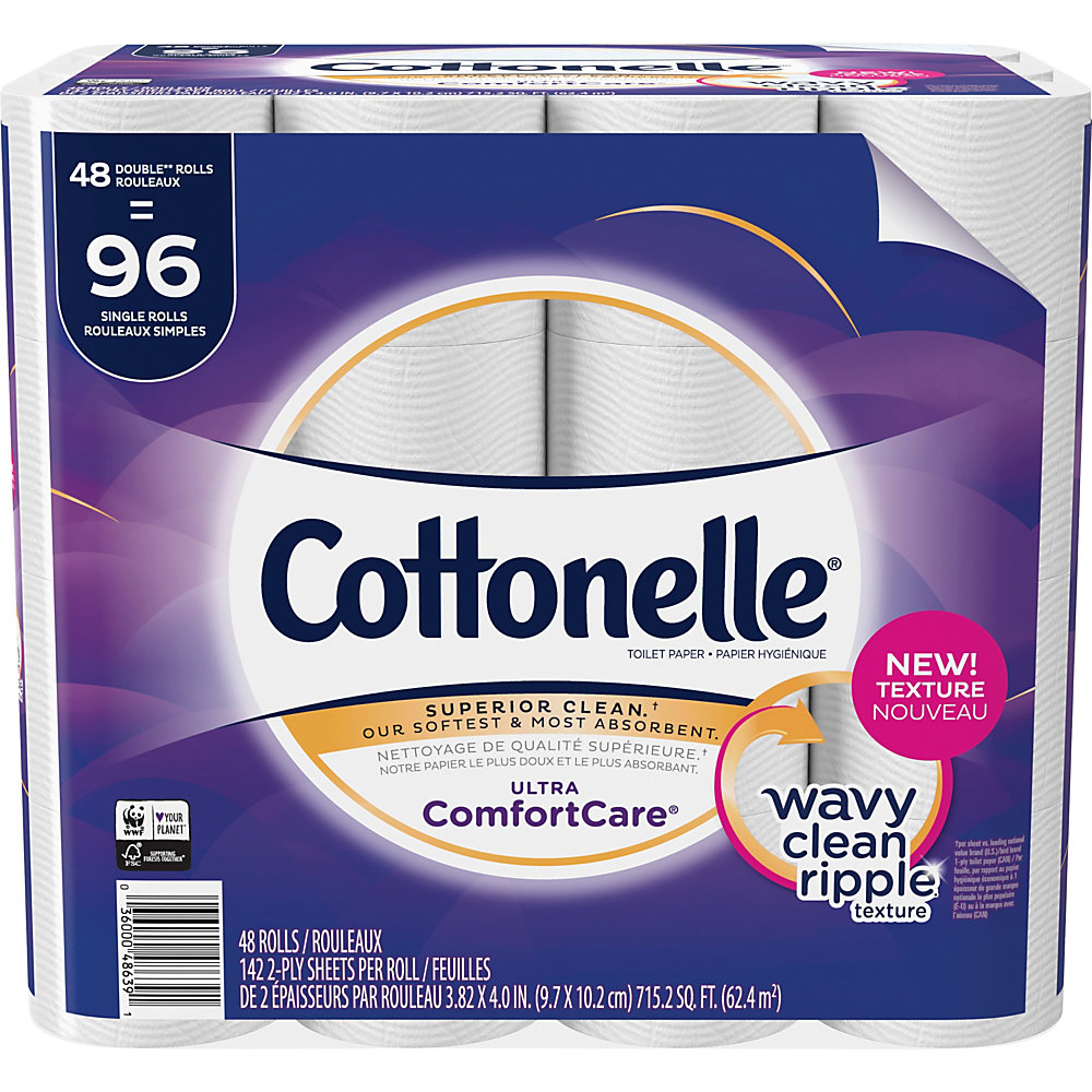 Cottonelle Ultra ComfortCare Toilet Paper - Double Rolls - 142 Sheets/Roll - White - Flushable, Textured - 48 Rolls Per Carton - 6816 / Carton