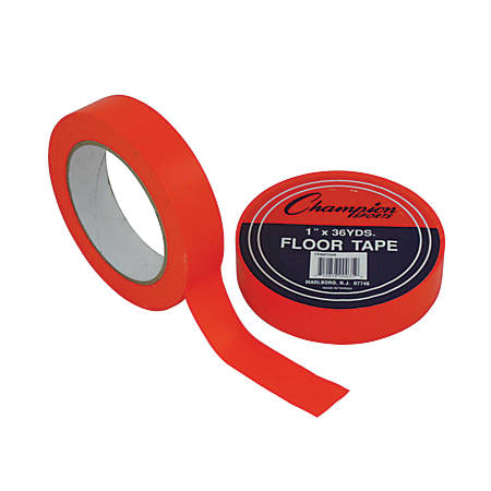 "Champion Sports Floor Tape, 1"" x 108', Orange"