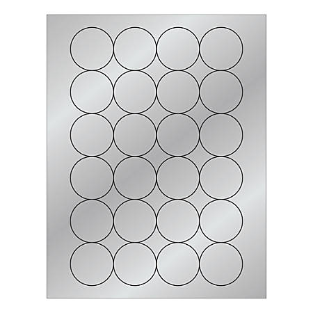 """Office Depot® Brand Foil Circle Laser Labels, LL218SR, 1-11/16"""", Silver, Pack Of 2,400 Labels"""