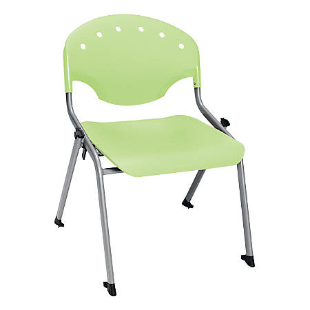 """OFM Rico Student Stack Chair, 30""""H x 22""""D x 24""""W, Lime Green/Silver, Set Of 6"""