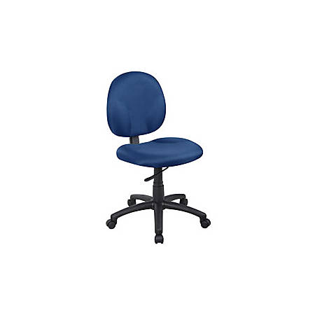 "Boss® Wide Seat Fabric Task Chair, 35""H x 19""W x 21""D, Black Frame, Blue Fabric"