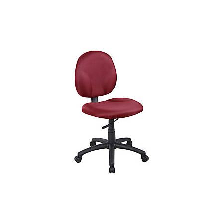 "Boss® Wide Seat Fabric Task Chair, 35""H x 19""W x 21""D, Black Frame, Burgundy Fabric"