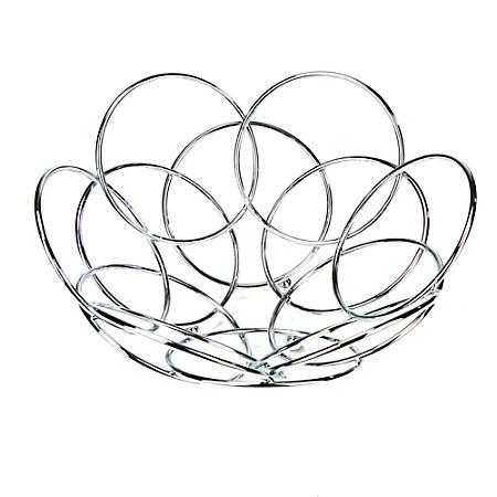 """Mind Reader Modern Stainless Steel Fruit And Vegetable Basket Bowl, 11"""", Silver"""