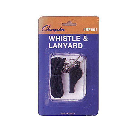 Champion Sports Plastic Whistle With Nylon Lanyard, Black