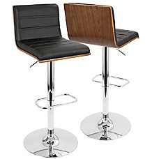 Lumisource Vasari Bar Stool WalnutBlackChrome
