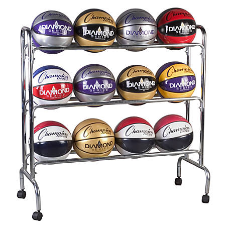 "Champion Sports 12-Ball Basketball Rack, 41"" x 17"" x 41"", Steel"