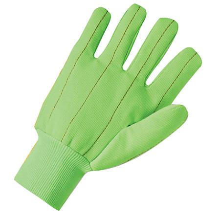 Canvas Gloves, Large, Hi-Viz Green, Knit-Wrist Cuff