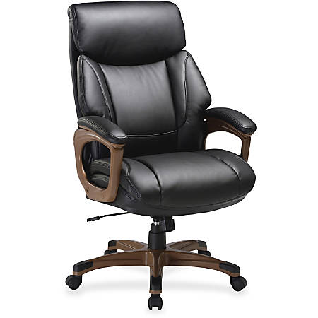Lorell® Executive Soft Seat Bonded Leather Chair, Black/Walnut