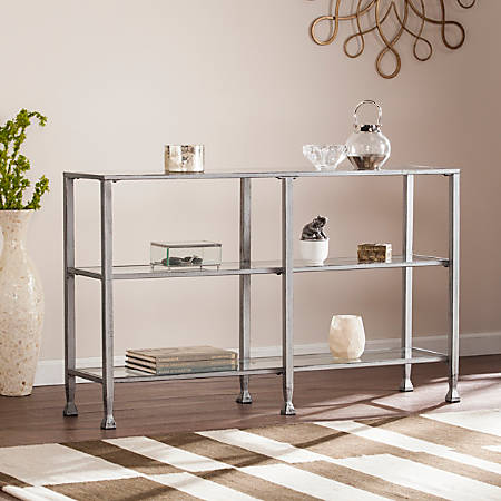 Southern Enterprises Jaymes Metal/Glass 3-Tier Console Table/Media Stand, Rectangular, Clear/Silver