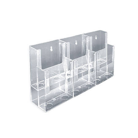 "Azar Displays 2-Tier Modular Brochure Holders, 6-Pocket, Acrylic, 7""H x 12 1/2""W x 3 3/4""D, Clear, Pack Of 2"
