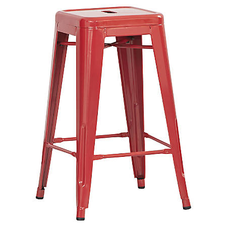 "Lorell® Metal Stool, 26""H, Red, Set Of 2"