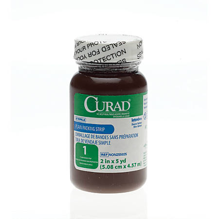 """CURAD® Sterile Plain Packing Strips, 2"""" x 5 yd., White, Case Of 12"""
