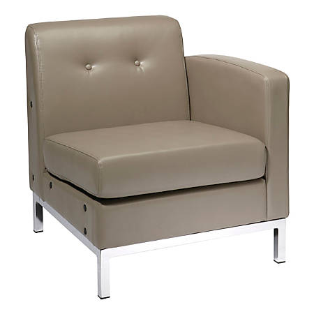 Office Star™ Avenue Six® Wall Street Chair, Single Arm RAF, Smoke/Chrome