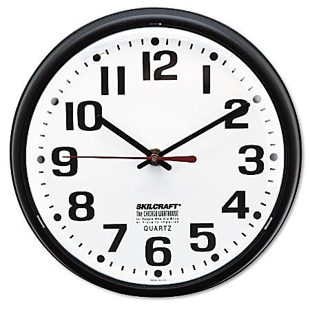 "Shatterproof Crystal Dial Cover Clock, 8"" Diameter, Black Frame (AbilityOne 6645-01-389-7958)"