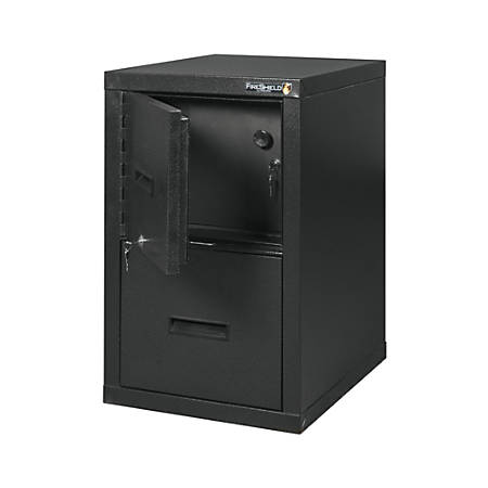 "FireKing® FireShield 22""D 1-Drawer Letter/Legal Metal Vertical File Cabinet And Safe, Black Stone"