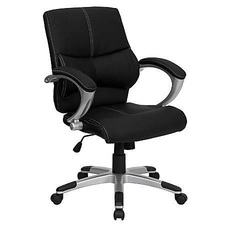 Flash Furniture Contemporary Leather Mid-Back Swivel Chair, Black/Silver