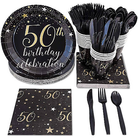 50th Birthday Party Supplies - Serves 24 - Includes Plastic Knives, Spoons, Forks, Paper Plates, Napkins, And Cups Perfect For Birthdays