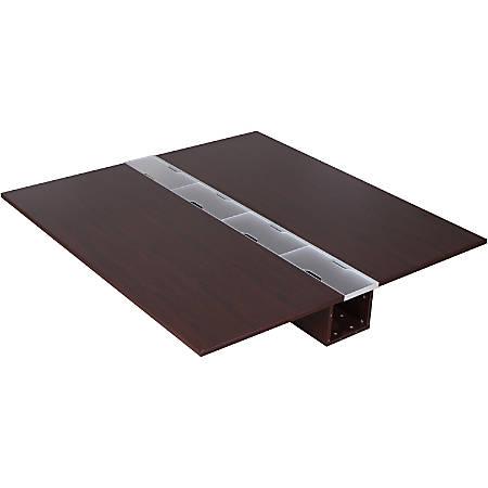 "Lorell® Concordia Series Double Desk Top, 66""W x 67""D, Mahogany"