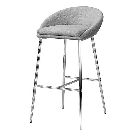 Monarch Specialties Bar Stools, Gray/Chrome, Pack Of 2 Stools