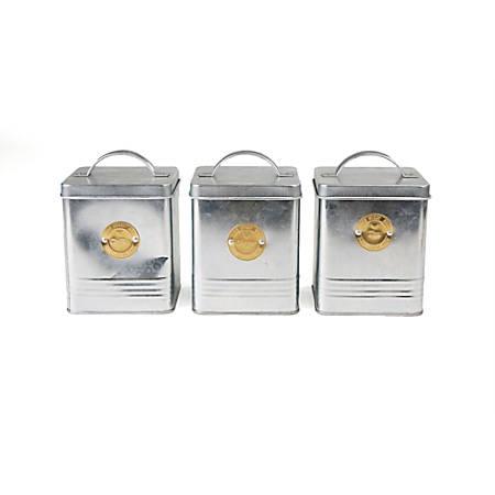 Mind Reader 3-Piece Galvanized Metal Round Canister Set, Silver