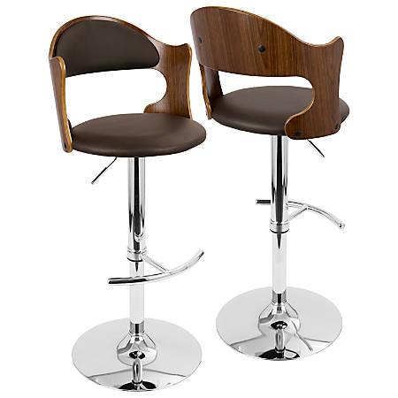 Lumisource Cello Bar Stool, Walnut/Brown/Chrome