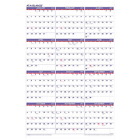 """AT-A-GLANCE® Yearly Wall Calendar, 24"""" x 36"""", January to December 2019"""