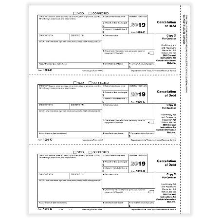 """ComplyRight™ 1099-C Tax Forms, Laser Cut, Creditor Copy C, 8-1/2"""" x 11"""", Pack Of 50 Forms"""