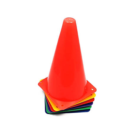 Champion Sports High-Visibility Plastic Cones, Assorted Colors, Pack Of 6