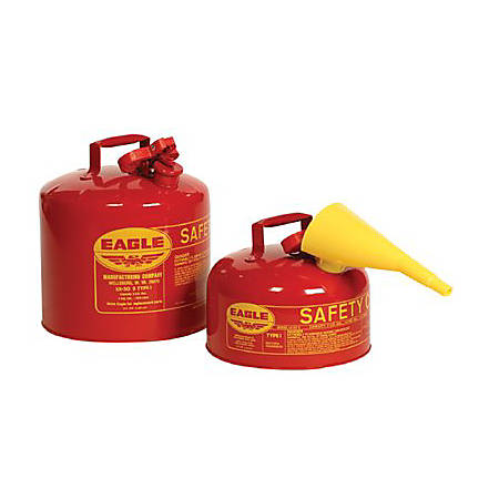Eagle Type I Safety Can For Flammables With F-15 Plastic Funnel, 5 Gallon, Red