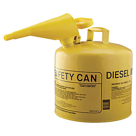 Eagle Type I Safety Can For Flammables With F-15 Plastic Funnel, 5 Gallon, Yellow