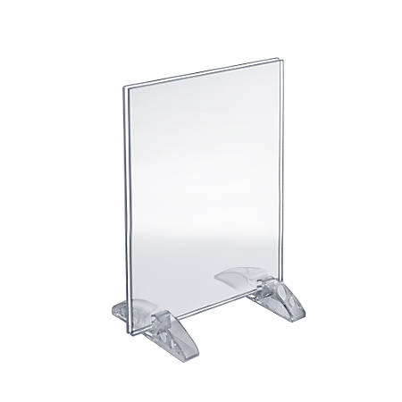 "Azar Displays Dual-Stand Acrylic Vertical/Horizontal Sign Holders, 8 1/2"" x 11"", Clear, Pack Of 10"
